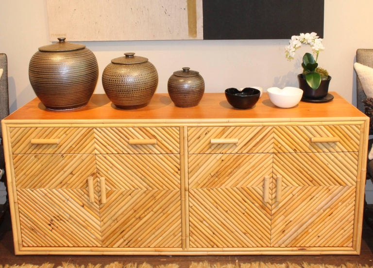 Vintage Split Bamboo Sideboard Cabinet For Sale 4