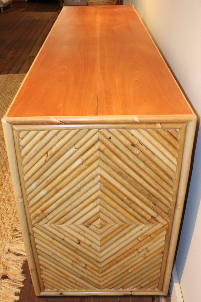 Vintage Split Bamboo Sideboard Cabinet For Sale 2