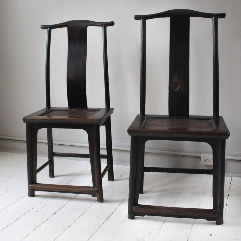 Pair of Antique Yoke-Back Chinese Chairs In Good Condition For Sale In New  Preston - Pair Of Antique Yoke-Back Chinese Chairs At 1stdibs