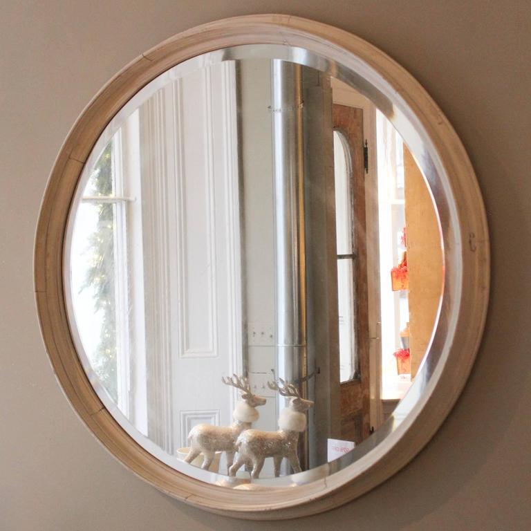 Outsized Distressed Bevelled Glass Round Mirror Late 20th Century With Wood Frame In Oyster Paint