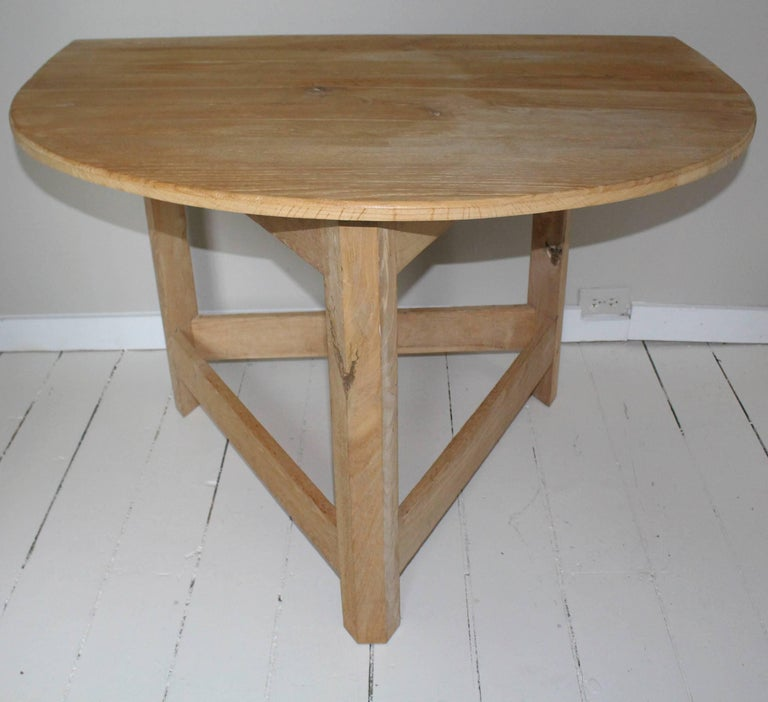 Bleached Pair of Modern Demilune Tables For Sale