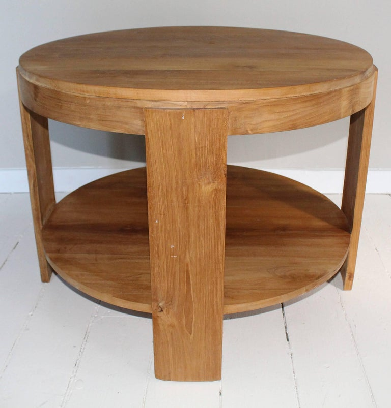 Bleached Oak Modern Circular Tiered Table 2