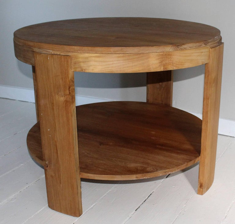 Bleached Oak Modern Circular Tiered Table 3