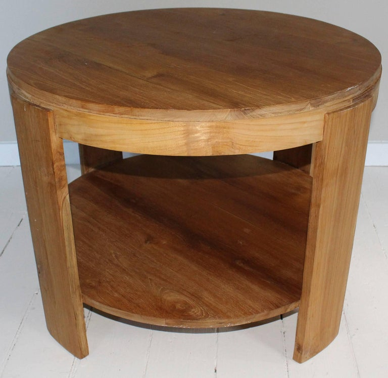 Bleached Oak Modern Circular Tiered Table 4