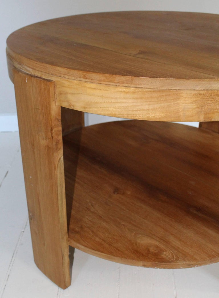Bleached Oak Modern Circular Tiered Table 6