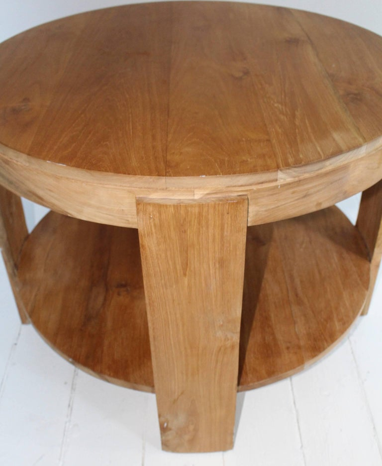 Bleached Oak Modern Circular Tiered Table 7