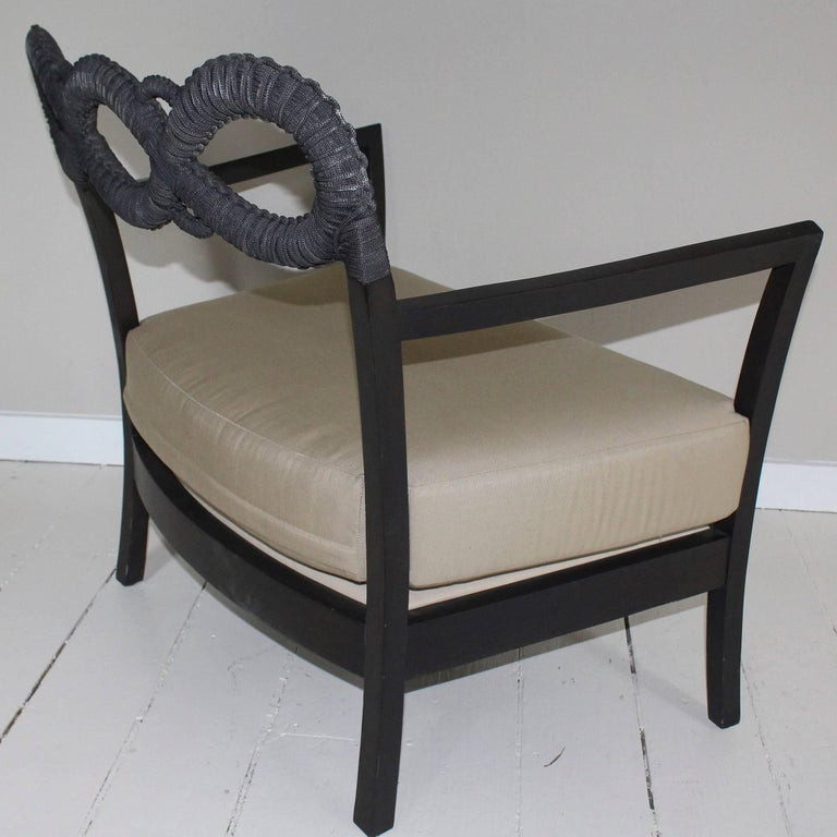 American Ebonized Rope Side Chair For Sale