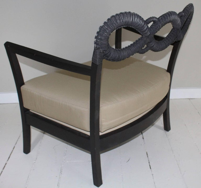 Contemporary Ebonized Rope Side Chair For Sale