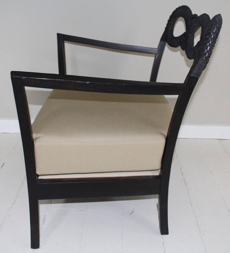 Ebonized Rope Side Chair For Sale 1