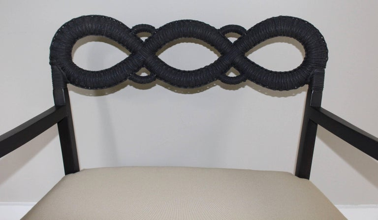Ebonized Rope Side Chair For Sale 3
