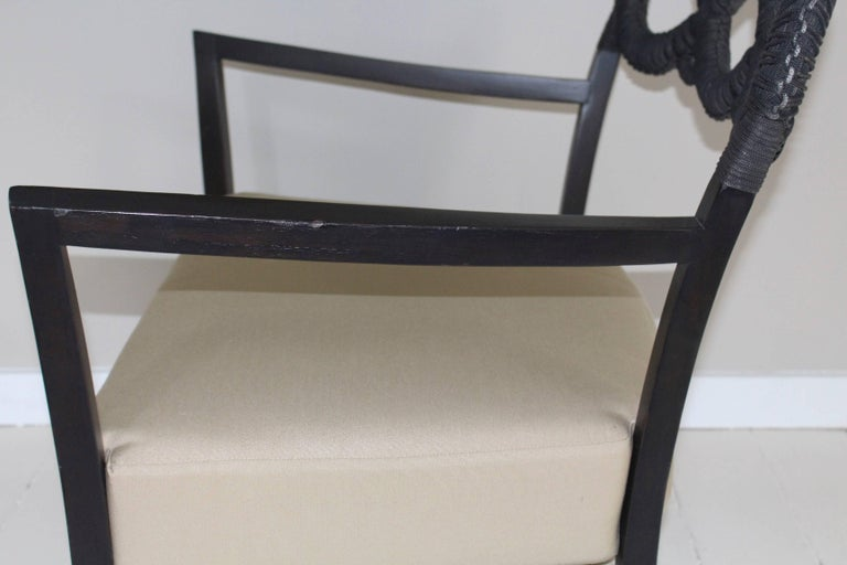 Ebonized Rope Side Chair For Sale 2