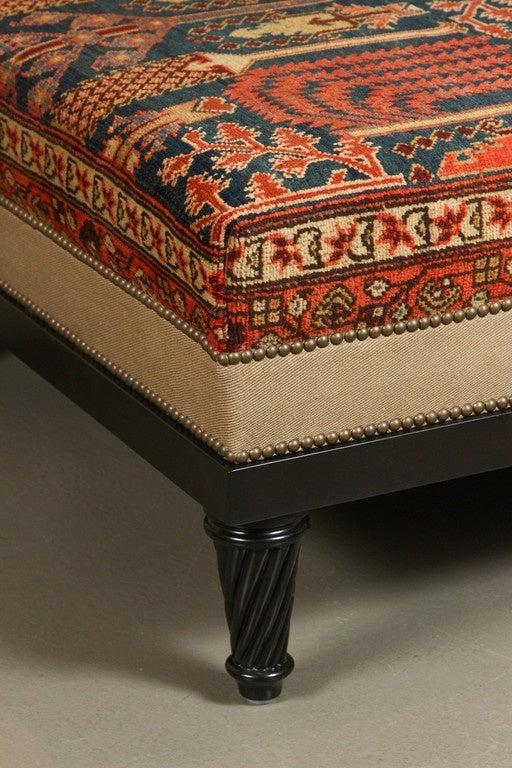 Persian Rug Upholstered Ottoman At 1stdibs
