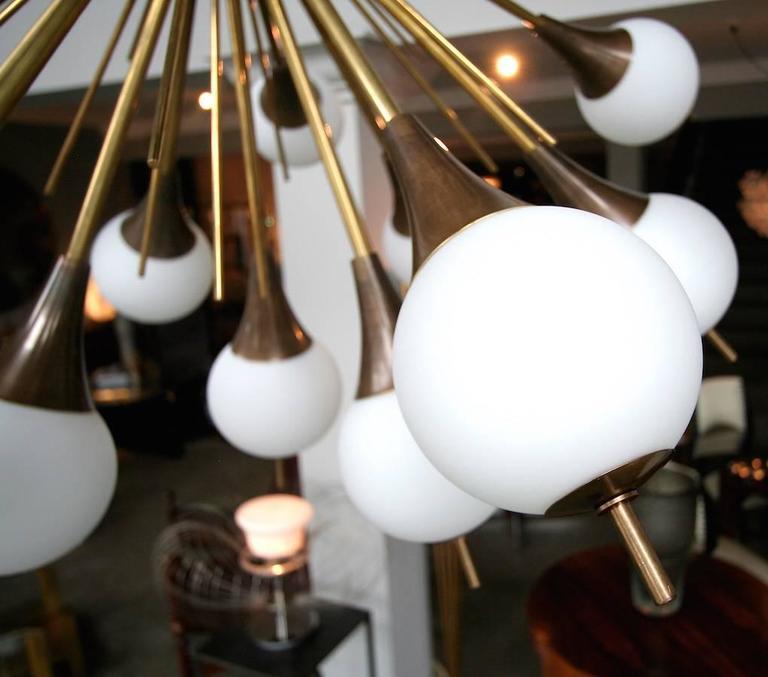 Brass Sputnik Chandelier with White Balls 6