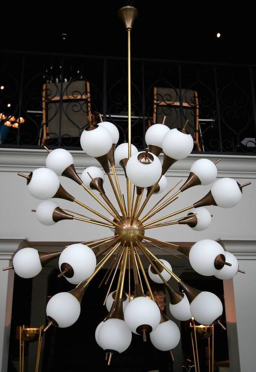Brass Sputnik Chandelier with White Balls 3
