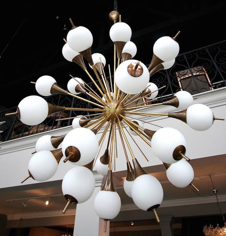 Brass Sputnik Chandelier with White Balls 2