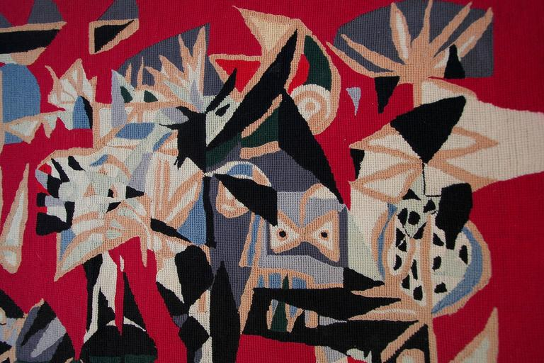 Mid-20th Century Brazilian Embroidered Abstract Red Tapestry by Genaro de Carvalho, 1960s For Sale