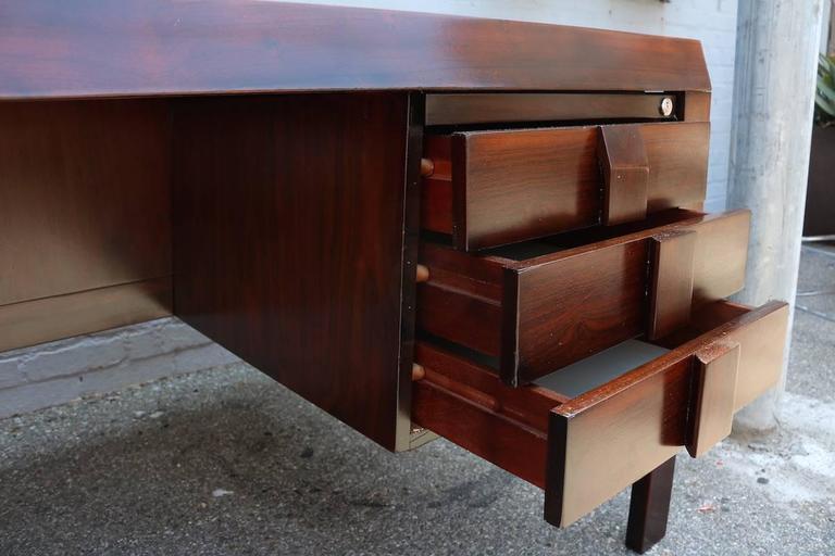Parquet 1960s Brazilian Jacaranda Desk by Jean Gillon In Good Condition For Sale In Los Angeles, CA