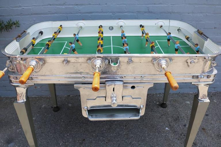 Vintage 1960s Super Estadio foosball / soccer table in aluminum with rounded corners and all original features.
