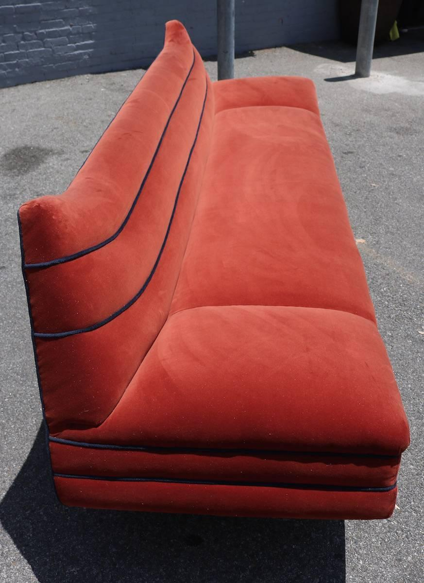 Long 1970s Orange Velvet Sofa With Navy Piping For Sale At