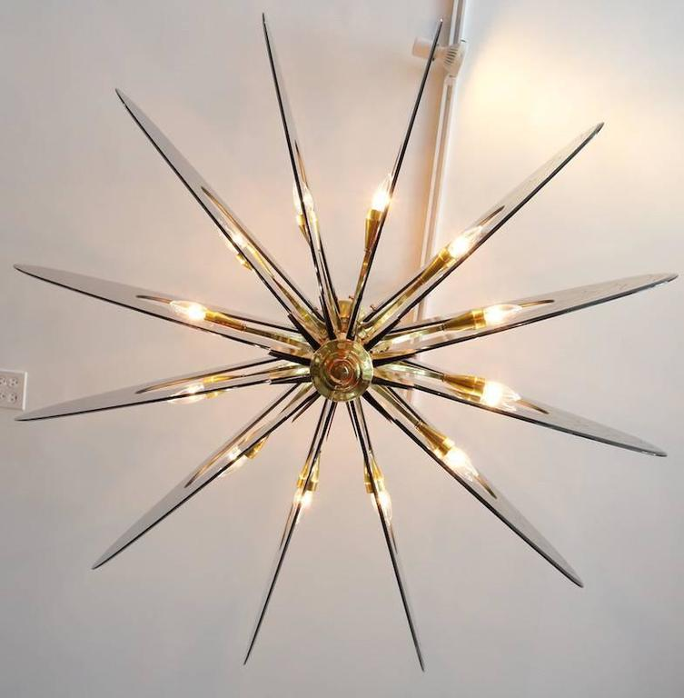 Smoked Glass 1960s Dominici Brass Chandelier For Sale 4