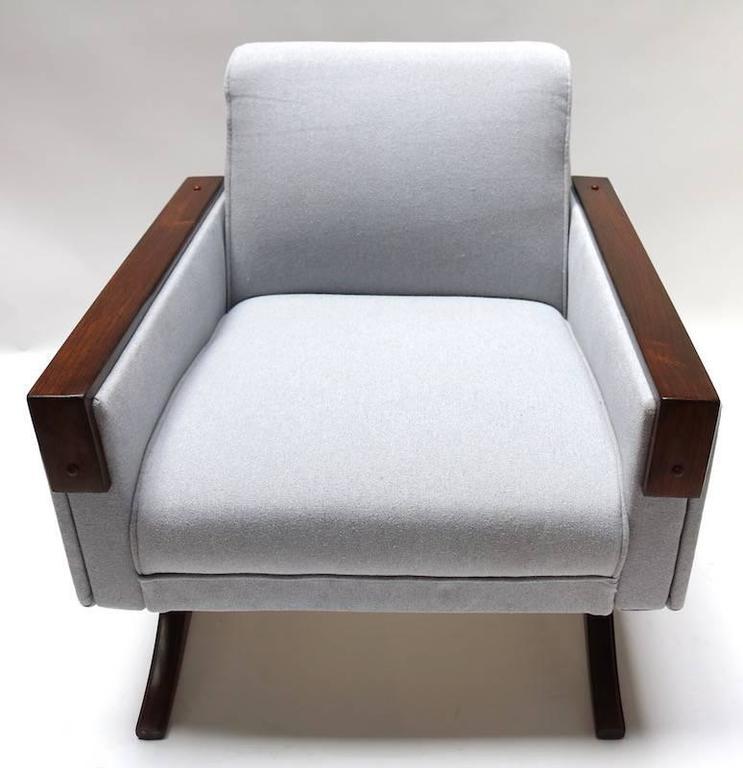 Mid-20th Century Pair of 1960s Brazilian Jacaranda Armchairs in Grey Linen For Sale