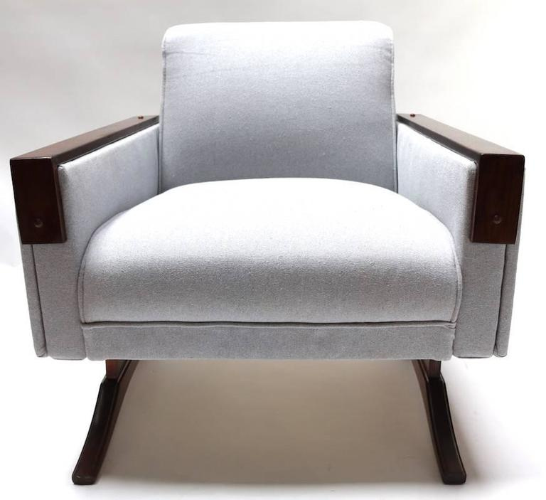 Pair of 1960s Brazilian Jacaranda Armchairs in Grey Linen In Good Condition For Sale In Los Angeles, CA