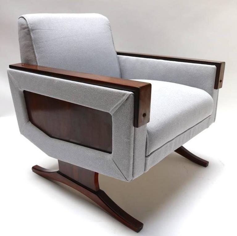 Mid-Century Modern Pair of 1960s Brazilian Jacaranda Armchairs in Grey Linen For Sale
