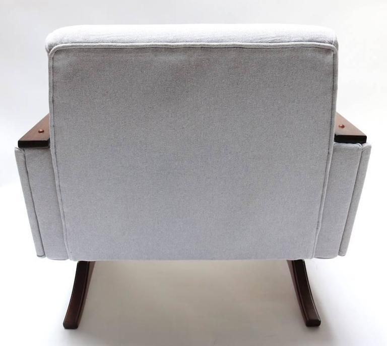 Pair of 1960s Brazilian Jacaranda Armchairs in Grey Linen For Sale 1