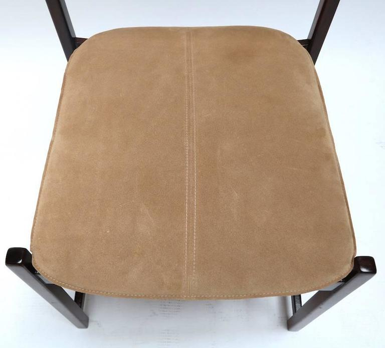 Suede Set of L'Atelier Brazilian Jacaranda 1960s Dining Chairs For Sale