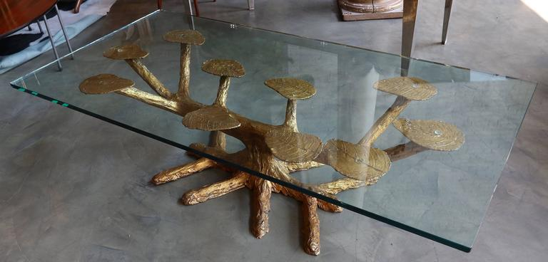 Metal Faux Bois 1960s Coffee Table with Gold Leaves and Glass Top 2