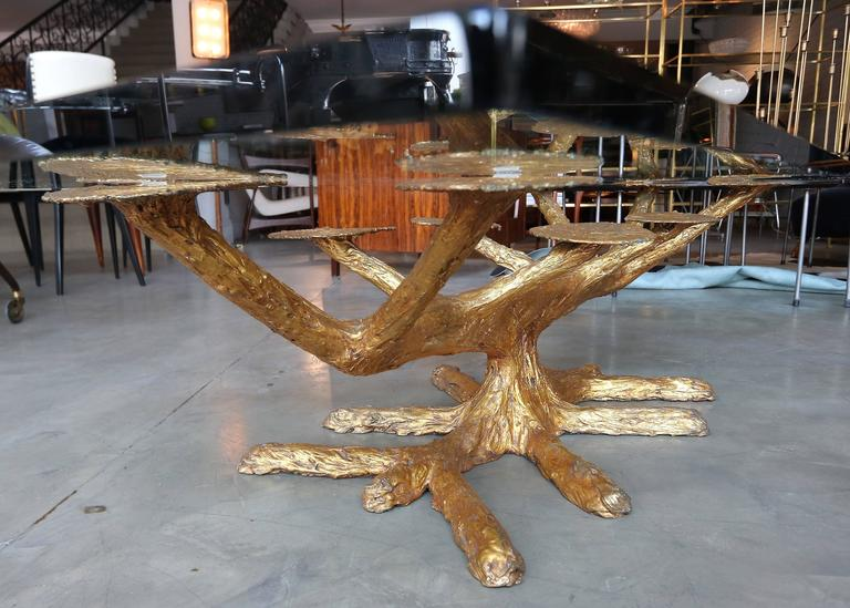 Metal Faux Bois 1960s Coffee Table with Gold Leaves and Glass Top 3