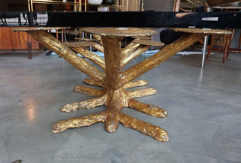 Metal Faux Bois 1960s Coffee Table with Gold Leaves and Glass Top 6