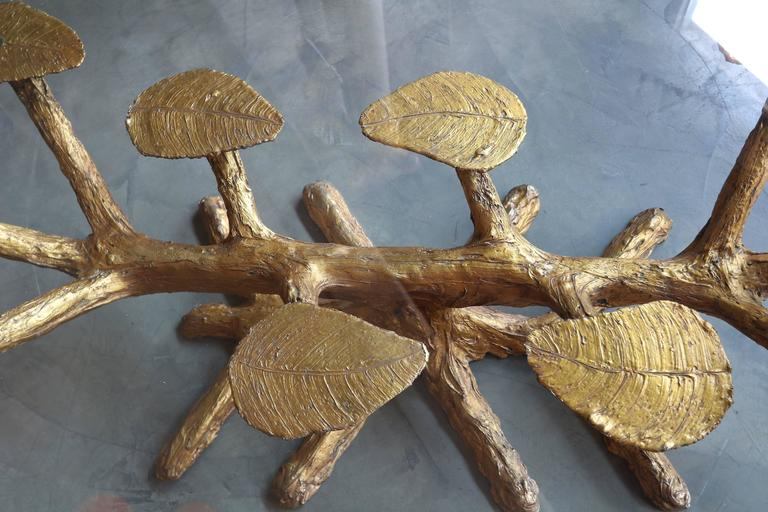 Metal Faux Bois 1960s Coffee Table with Gold Leaves and Glass Top 7