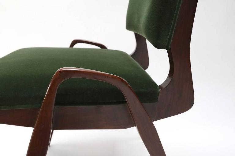 Set of Custom Gio Ponti Style Dining Chairs in Walnut In Excellent Condition For Sale In Los Angeles, CA