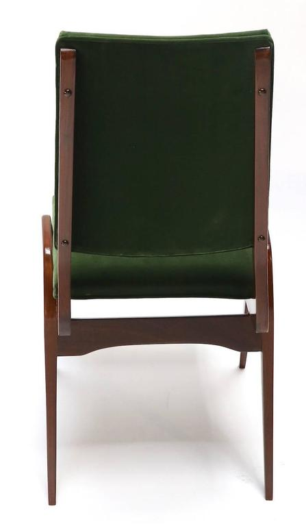 Mid-Century Modern Set of Custom Gio Ponti Style Dining Chairs in Walnut For Sale