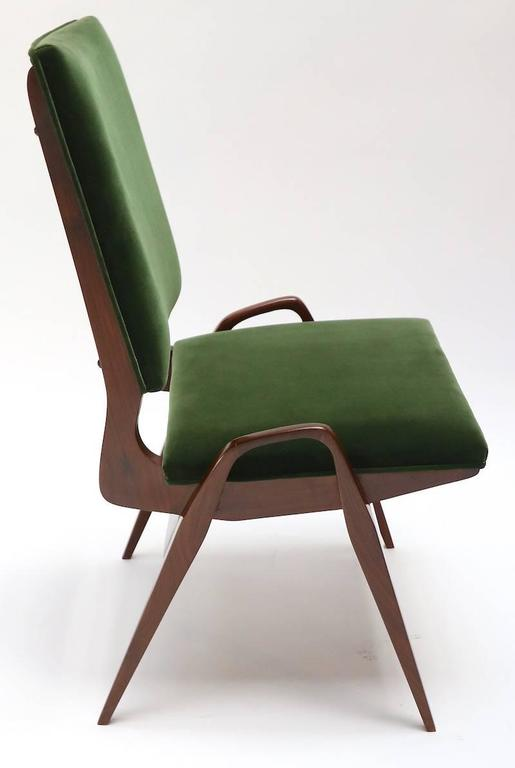 Set of 12 custom Gio Ponti style dining chairs in walnut, upholstered in green velvet.  Can be done in different wood and finishes.