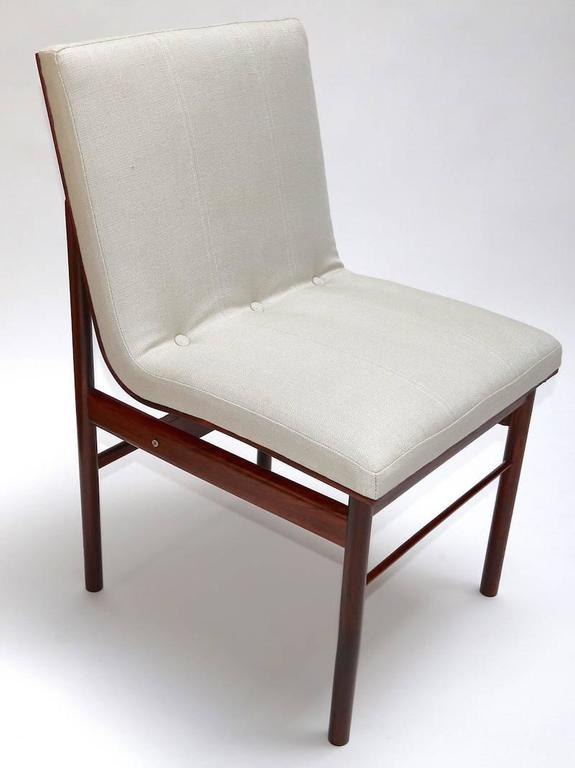 Set of 12 dining chairs by Jorge Zalszupin from the 1960s in jacaranda wood and beige linen