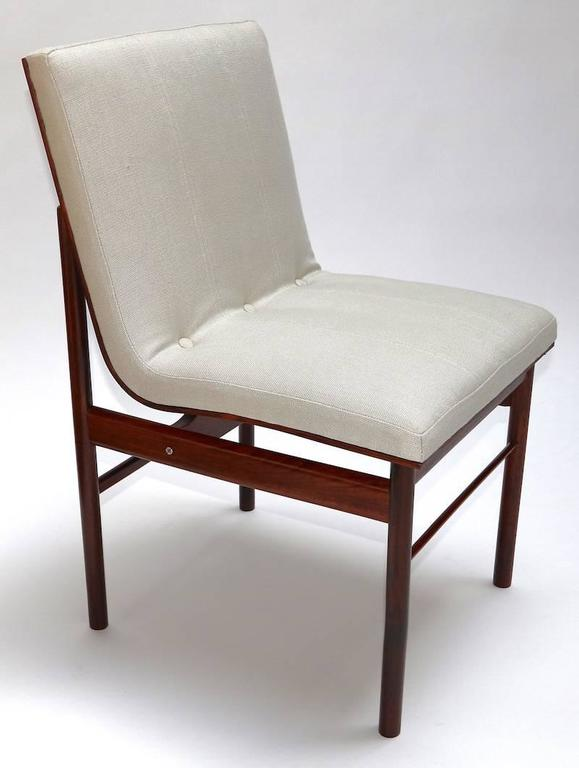 Linen Brazilian Jacaranda 1960s Dining Chairs by Jorge Zalszupin For Sale