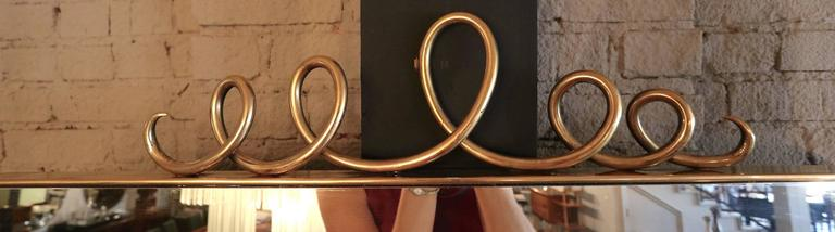 Tall Rectangular Brass Mirror with Loop Detail For Sale 3