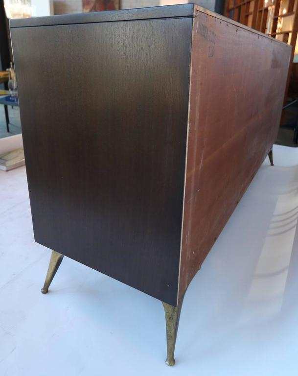 Mid-Century Modern 1960s RWAY Brown Wood Dresser or Sideboard with Brass Accents For Sale