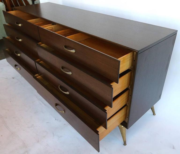 American 1960s RWAY Brown Wood Dresser or Sideboard with Brass Accents For Sale