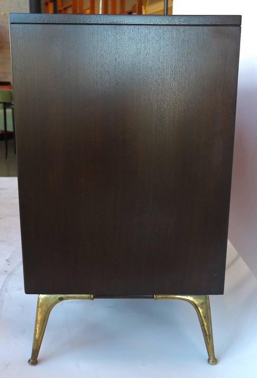 1960s RWAY Brown Wood Dresser or Sideboard with Brass Accents For Sale 2