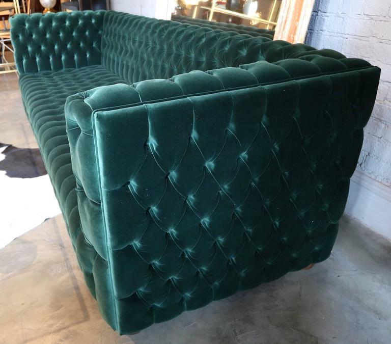 Custom Capitone Carmen Tufted Green Velvet Sofa For Sale At 1stdibs
