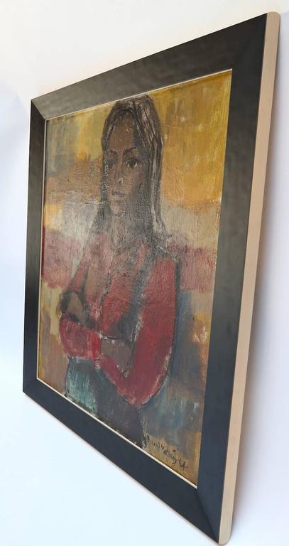 Oil on canvas painting of a woman by Richard Martinez done in 1964.