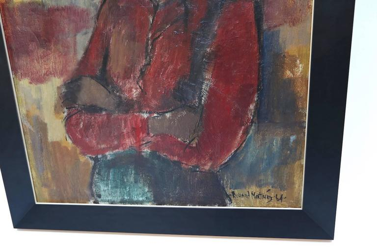 Mid-Century Modern 1960s Painting of a Woman by Richard Martinez For Sale