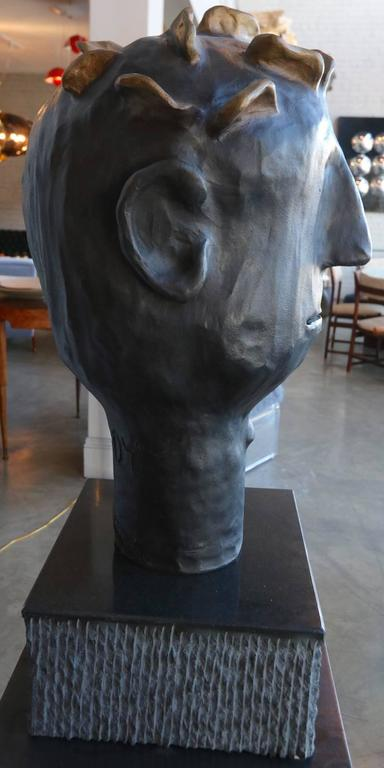 Contemporary Leroy Bronze Sculpture by Danny First with Granite Base For Sale