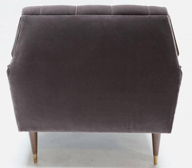 Pair of Custom 1960s Style Velvet Armchairs with Wood and Brass Details In Excellent Condition For Sale In Los Angeles, CA