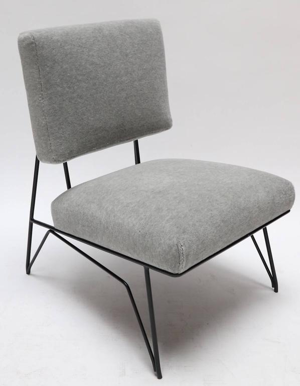 American Pair of Custom 1960s Style Metal Chairs in Gray Alpaca For Sale