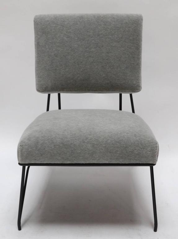 Contemporary Pair of Custom 1960s Style Metal Chairs in Gray Alpaca For Sale