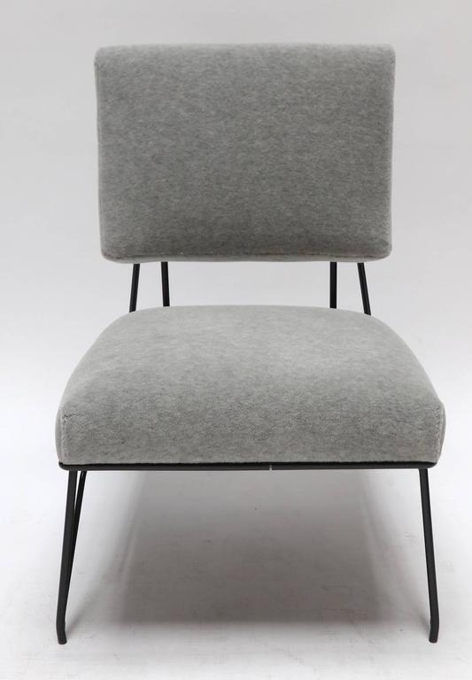 Mid-Century Modern Pair of Custom 1960s Style Metal Chairs in Gray Alpaca For Sale
